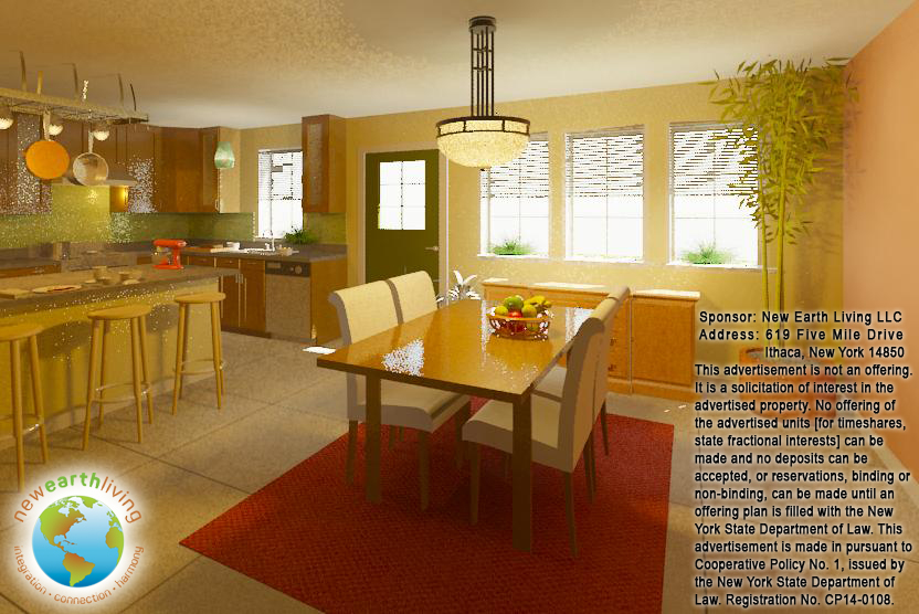 3d renderings of the future amabel homes new earth living for Dining room 3d view