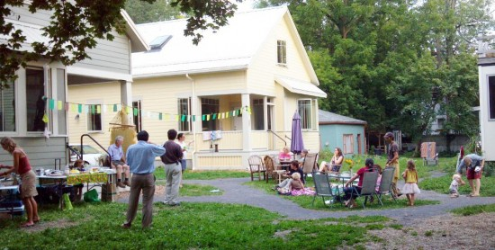 Residents Gather in the now-complete Aurora Pocket Neighborhood common space