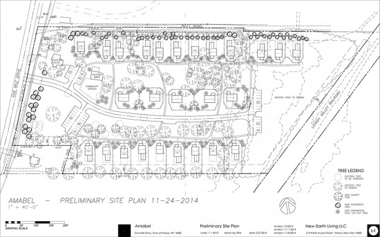 The preliminary site plan for the Amabel community